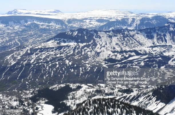 Heavy snow still remains on the Flat Tops on June 7 2019 near Steamboat Springs Colorado Flight for aerial photos was provided by Eco Flight