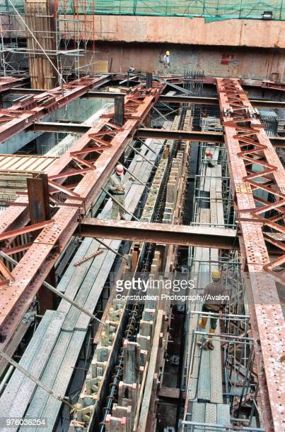 Heavy steel propping for basement construction Singapore National Library Singapore