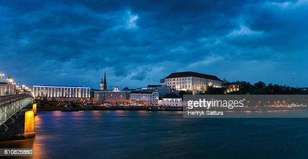 Heavy storm by Danube River in Linz