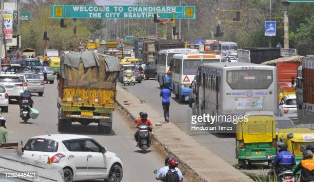 Heavy traffic congestion at the Chandigarh Zirakpur border due to a Covid-19 lockdown on April 21, 2021 in Chandigarh, India. The Chandigarh...