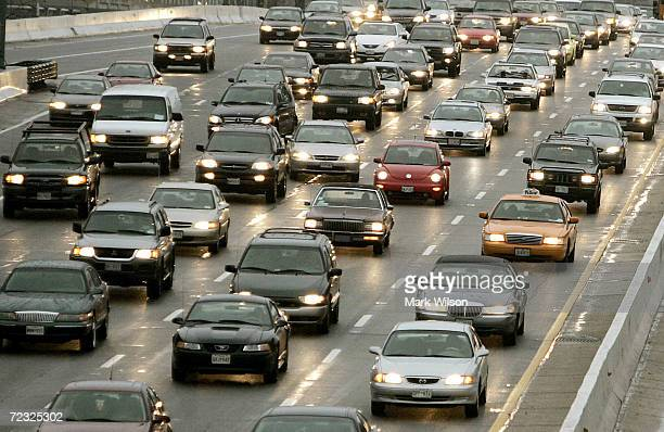 Heavy traffic congestion is seen on Interstate 395 November 24 2004 in Washington DC The day before Thanksgiving is traditionally the busiest travel...