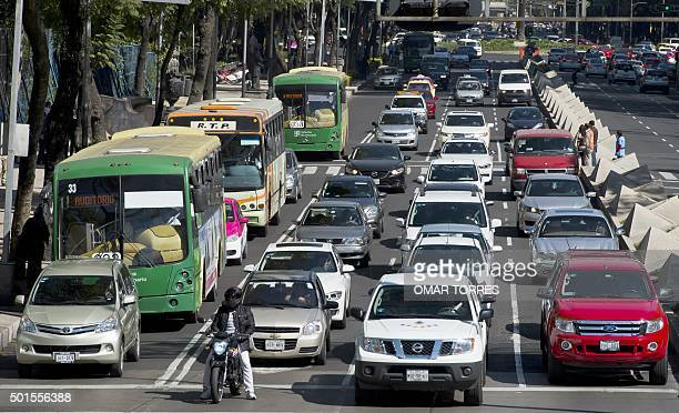 Heavy traffic in an avenue of Mexico City on December 15 2015 The new Mexican traffic regulation establishes prohibitions to actions like the...