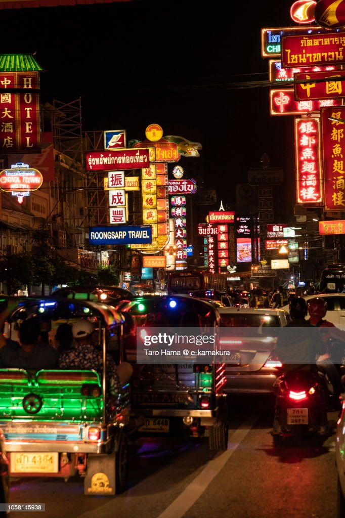 Heavy traffic in China town in Bangkok city : Stock Photo