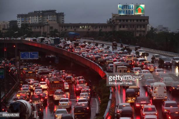 Heavy traffic in Mumbai at Bandra western express highway on Tuesday evening