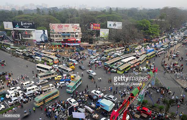 Heavy traffic jam is seen following a mass rally of the Bangladesh Awami League in Dhaka on March 7 ahead of a planned Bangladesh Nationalist Party...