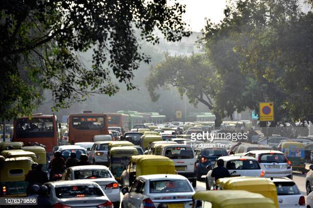 Heavy traffic jam seen on the first day of the New Year at Connaught Place, on January 1, 2019 in New Delhi, India. The New Year celebrations and...