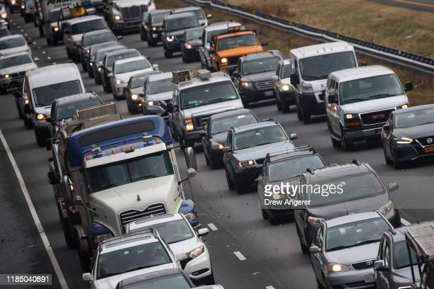 Heavy traffic moves slowly on I495 the day before Thanksgiving November 27 2019 in Bethesda Maryland Both the American West and Midwest are facing...