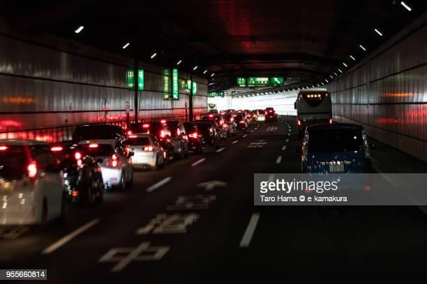 Heavy traffic on The Bayshore Route of Shuto Expressway in Kawasaki city in Kanagawa prefecture in Japan
