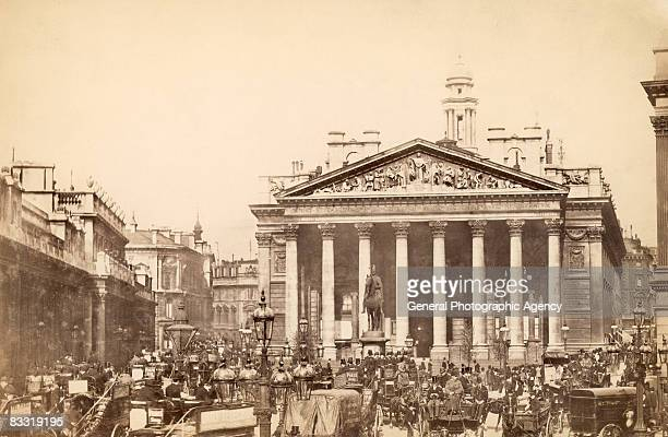 Heavy traffic outside the Royal Exchange in the City of London circa 1880