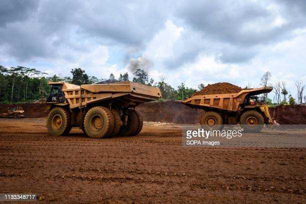 Heavy trucks seen working at PT Vale Indonesia's nickel mining area Nickel mining by the PT Vale Indonesia a nickel plant in Soroako South Sulawesi...