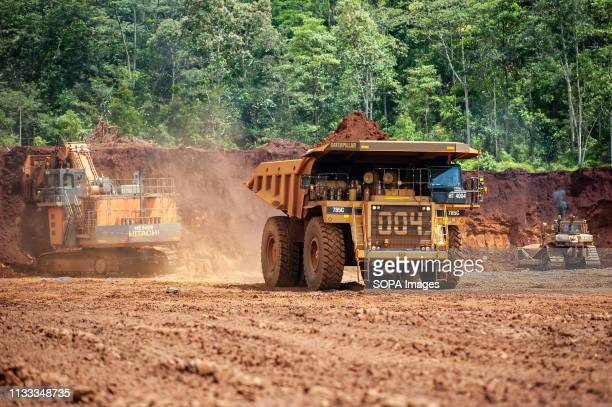 Heavy trucks seen working at the nickel mining area Nickel mining by the PT Vale Indonesia a nickel plant in Soroako South Sulawesi Indonesia A...
