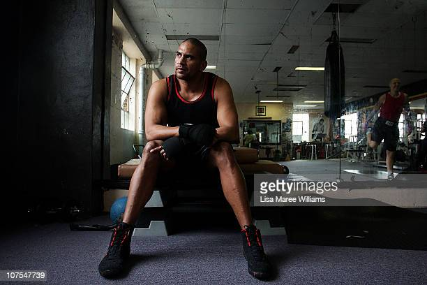 Heavy weight boxer Justin Henry looks on during training at the Elouera Tony Mundine Gym on Vine Street in the Aboriginal housing community known as...