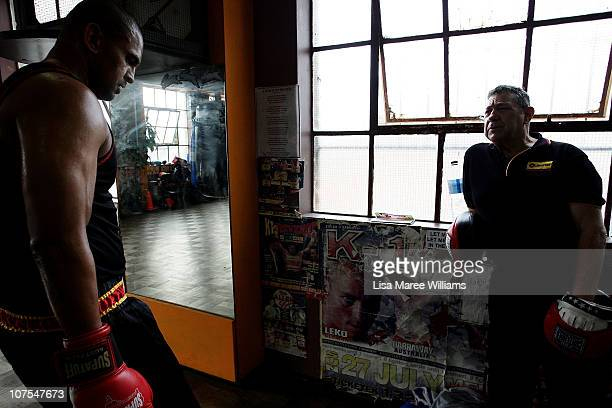 Heavy weight boxer Justin Henry works out with long time trainer Tony O'Loughlin at the Elouera Tony Mundine Gym on Vine Street in the Aboriginal...