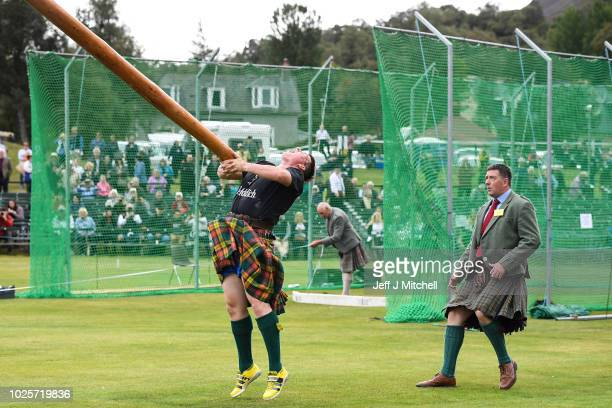 Heavy weight competitors take part at annual Braemer Highland Games at The Princess Royal and Duke of Fife Memorial Park on September 1 2018 in...
