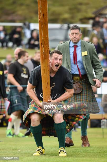 Heavy weight competitors take part at annual Braemer Highland Games at The Princess Royal and Duke of Fife Memorial Park on September 1 2018in...