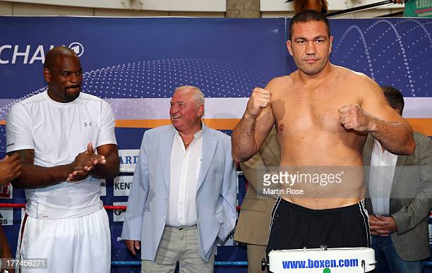 Heavy weight fighter Kubrat Pulev of Bulgario poses during the weigh in at Schloss Park Center on August 23 2013 in Schwerin Germany