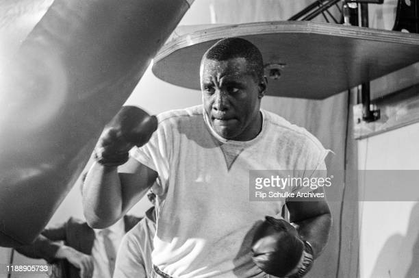 Heavy weight fighter Sonny Liston training for his bout with Muhammad Ali in Boca Raton Florida 1964
