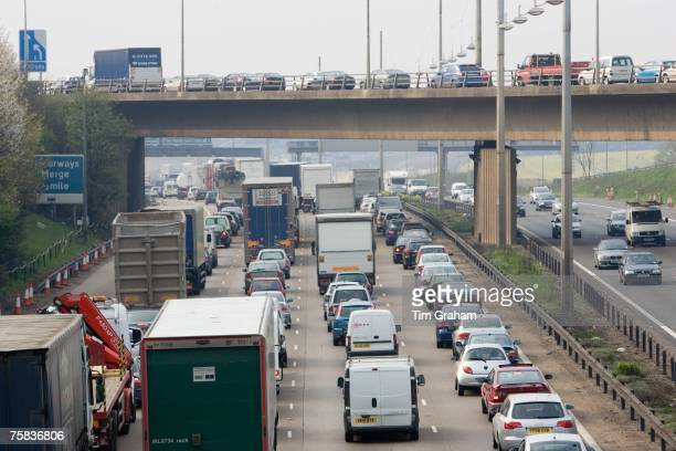 Heavy weight of traffic travelling on M1 motorway in Hertfordshire United Kingdom