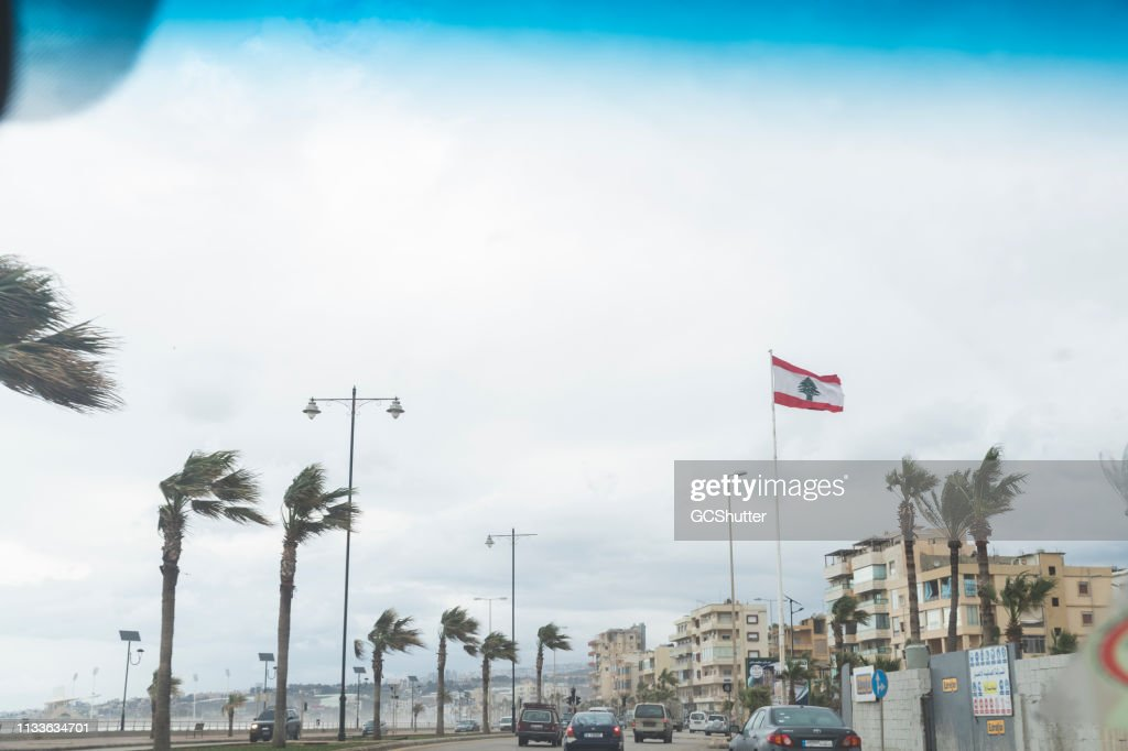 Heavy Winds near Beirut Corniche : Stock Photo