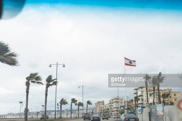 heavy winds near beirut corniche - lebanon stock pictures, royalty-free photos & images