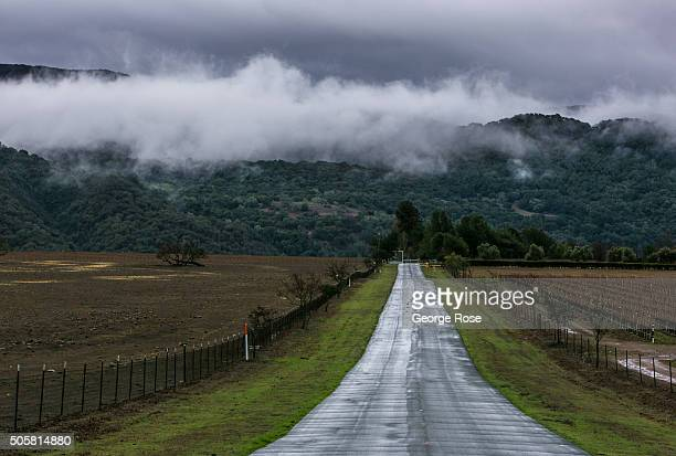Heavy winter storm dumps several inches of rain along the mountains and hills of the Santa Ynez Valley on January 7, 2016 in Santa Ynez, California....