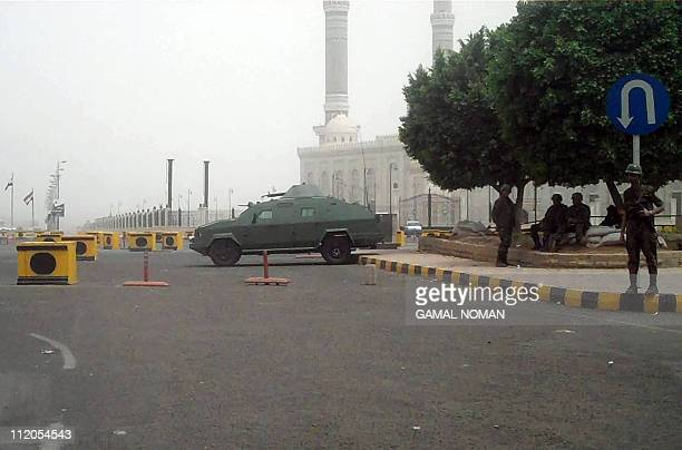 Heavy Yemeni security forces are deployed in the presidential area of Sanaa on March 27 2011 as embattled President Ali Abdullah Saleh said today he...