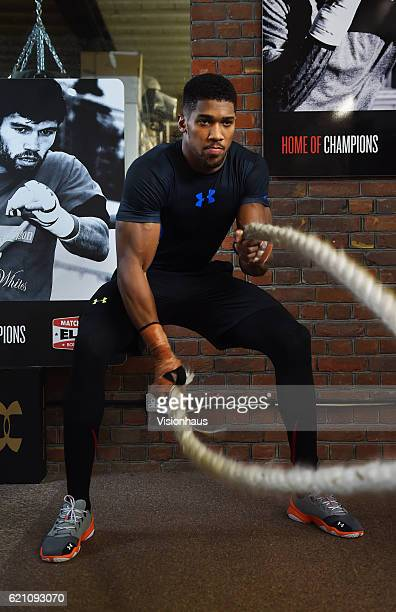 Heavyweight boxer Anthony Joshua training at Little Bassetts Farm gym in Little Warley Brentwood UK