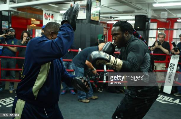 Heavyweight Boxer Bermane Stiverne works out at Gleason's Gym on November 1 2017 in the Brooklyn Borough of New York City Bermane Stiverne will face...