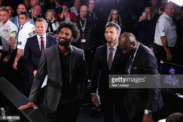 Heavyweight boxer David Haye at ringside with Carl Froch in the WBC Cruiserweight Championship match during Boxing at Echo Arena on October 15 2016...