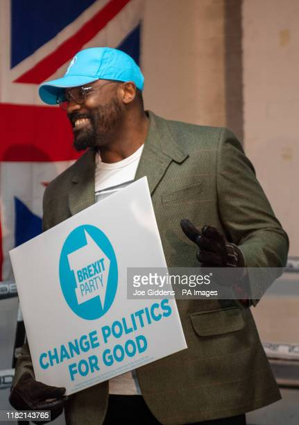 Heavyweight boxer Dereck Chisora during a Brexit Party rally at the Gator ABC Boxing Club, in Hainault, Ilford, Essex, during campaigning for the...