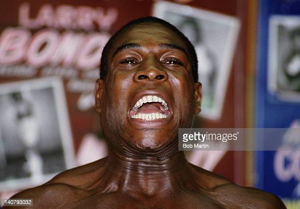 Heavyweight boxer Frank Bruno during training for his fight with Mike Tyson on 1st December 1988 in Las Vegas Nevada United States