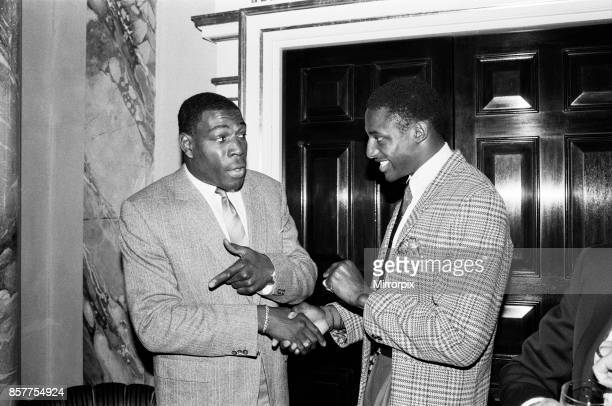 Frank Bruno with Justin Fashanu at the Variety Club's sports lunch at the Dorchester London 24th May 1988