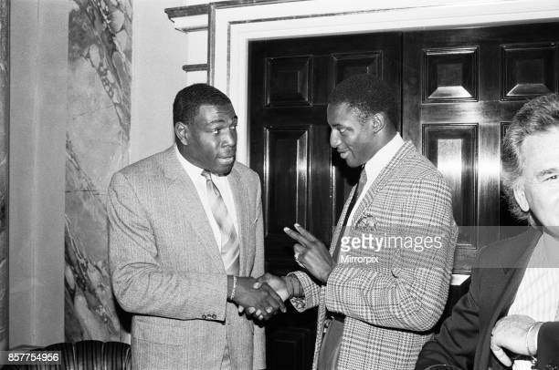 Frank Bruno with Justin Fashanu at the Variety Club's sports lunch at the Dorchester London 24th May 1989