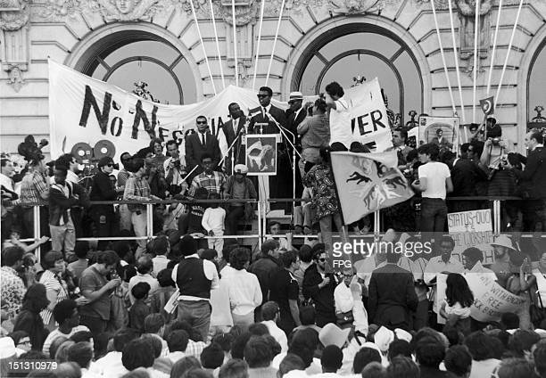 Heavyweight boxer Muhammad Ali addresses a race rally during the peace rally at the Civic Center in San Francisco 27th April 1968