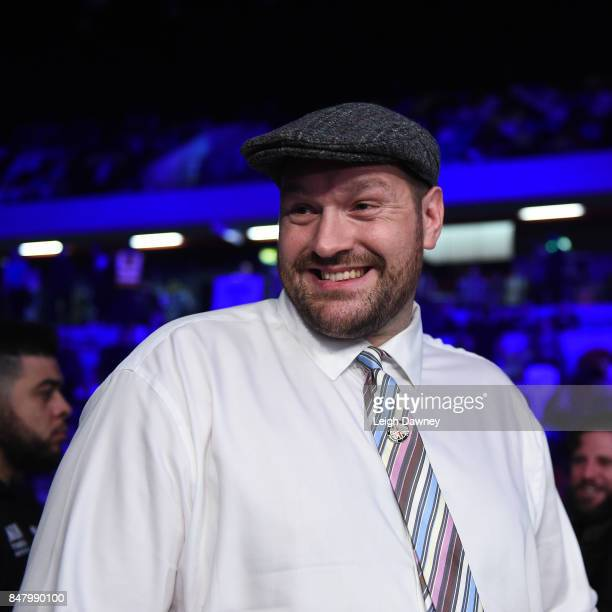 Heavyweight boxer Tyson Fury looks on ringside at Copper Box Arena on September 16 2017 in London England