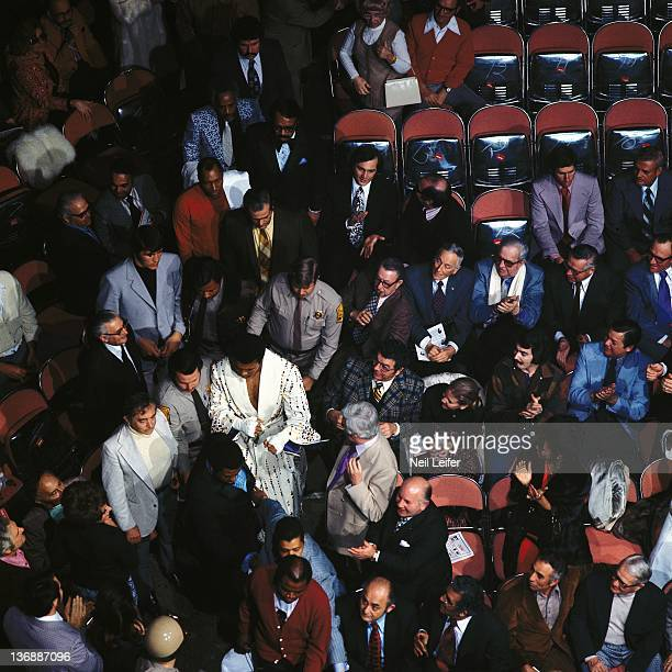 Heavyweight Boxing Aerial view of Muhammad Ali entering arena during introductions before fight vs Joe Bugner at Las Vegas Convention Center Ali is...