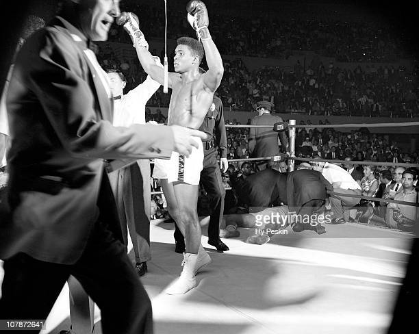 Cassius Clay victorious after knockout of Alejandro Lavorante at Los Angeles Memorial Sports ArenaLos Angeles CA 7/20/1962CREDIT Hy Peskin