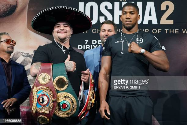 Heavyweight Boxing Champion Andy Ruiz Jr stands with contender Anthony Joshua at a press conference for Ruiz vs Joshua 2 at Capitale in New York on...
