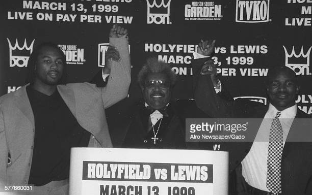 Heavyweight boxing champion Evander Holyfield and Don King during a press conference for the Evander Holyfield vs Lennox Lewis boxing match 1999