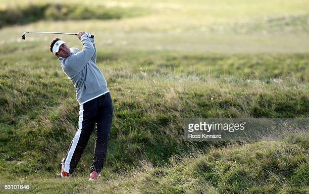 Heavyweight boxing champion Wladimir Klitschko plays out from the rough on the fifth hole during the second round of The Alfred Dunhill Links...