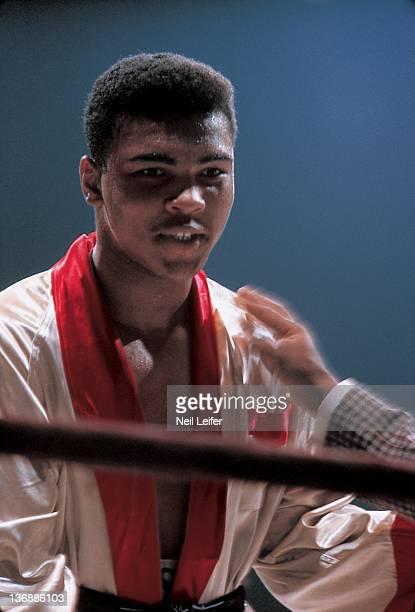 Heavyweight Boxing Closeup of Muhammad Ali before fight vs Doug Jones at Madison Square Garden New York NY 3/13/1963 CREDIT Neil Leifer