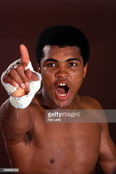 Heavyweight Boxing Closeup portrait of Muhammad Ali pointing during photo shoot while training at 5th Street Gym Miami Beach FL 10/9/1970 CREDIT Neil...