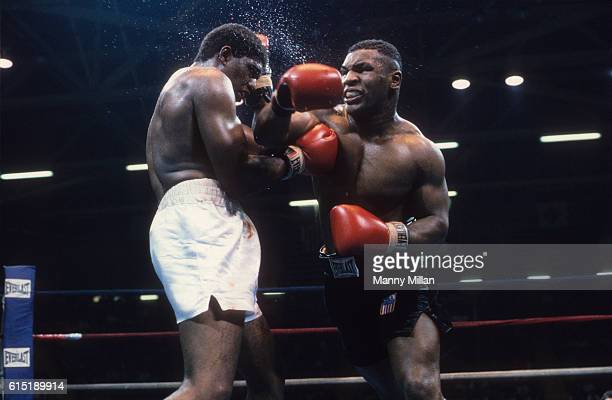 Mike Tyson in action vs James Tillis during fight at Civic Center Glen Falls NY CREDIT Manny Millan