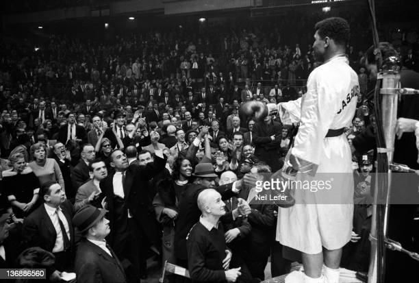 Heavyweight Boxing Muhammad Ali facing spectators after winning fight with a tenth round decision over Doug Jones at Madison Square Garden New York...