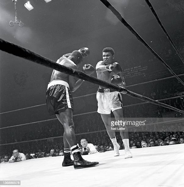 Heavyweight Boxing Muhammad Ali in action throwing righthand punch vs Doug Jones at Madison Square Garden New York NY 3/13/1963 CREDIT Neil Leifer