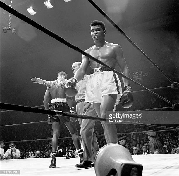 Heavyweight Boxing Muhammad Ali walking back to corner at the end of a round during fight vs Doug Jones at Madison Square Garden New York NY...
