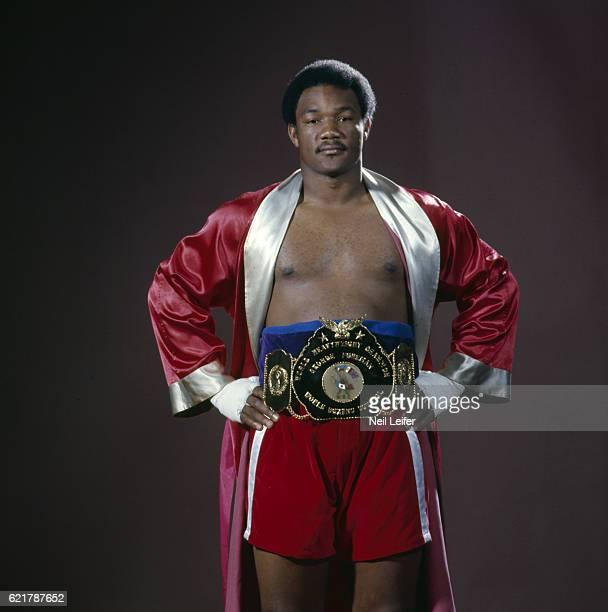 Portrait of champion George Foreman wearing WBC championship belt during photo shoot Haywood CA CREDIT Neil Leifer