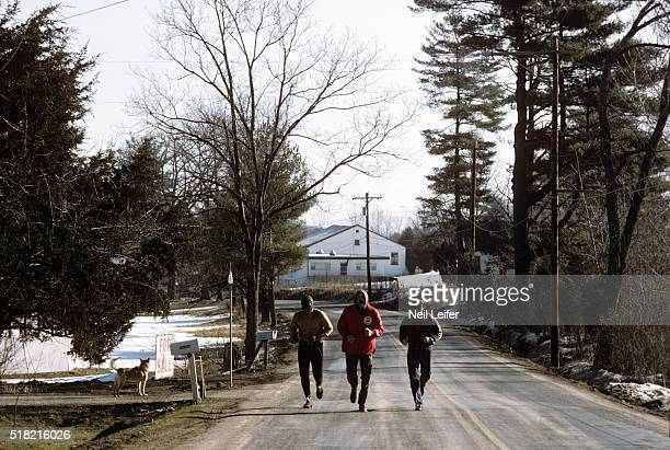 Portrait of Chuck Wepner running while training for fight in the Catskill Mountains Kerhonkson NY CREDIT Neil Leifer