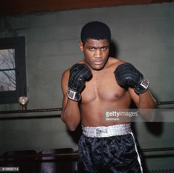 Heavyweight challenger Ernie Terrell works out at the Laoma Byrd gym here February 17th Terrell is training for his fight with heavyweight champion...