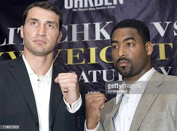 IBF Heavyweight Champ Wladimir Klitschko and Calvin Brock pose at the press conference announcing their upcoming fight on September 19 2006 at...